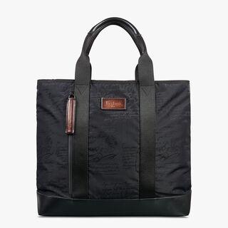 Duo Nylon Calf Leather Tote Bag