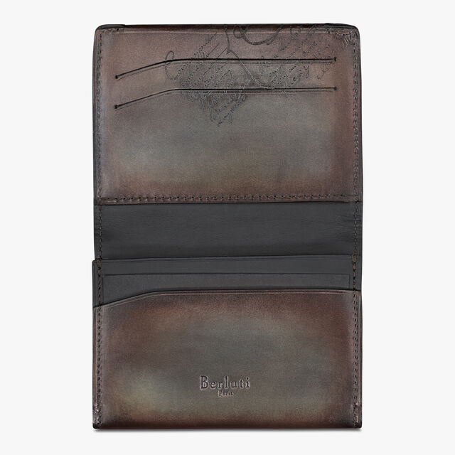 Vision Epure Scritto Leather Card Holder, ICE BROWN, hi-res