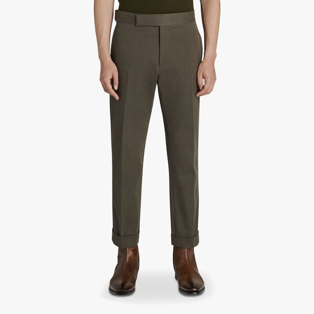 Cotton Chino Trousers , MOSS FOREST, hi-res