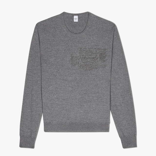 Regular Fit Scritto Embroidered Wool Crewneck Sweater, LEAD, hi-res