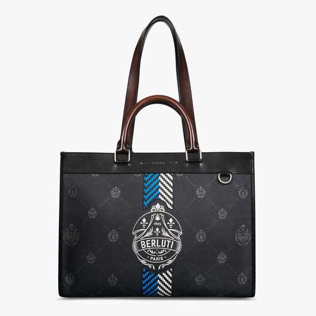 Ulysse小号帆布与皮革大手提袋, BLACK + BLUE, hi-res