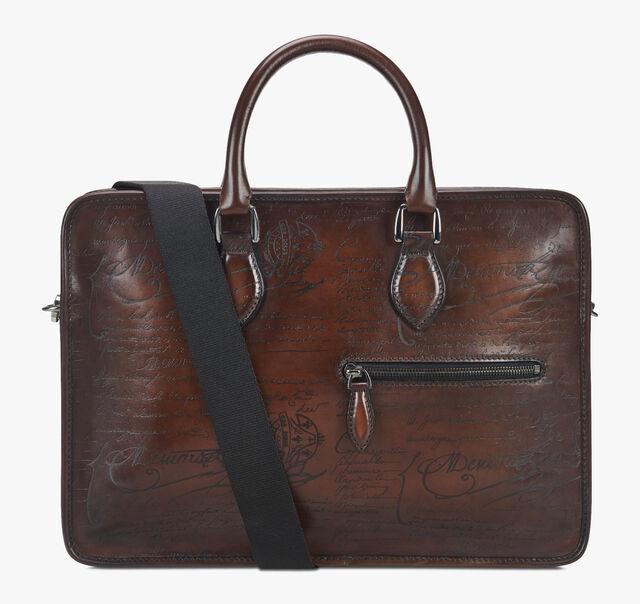 Un Jour Small Scritto Leather Briefcase, MOGANO, hi-res