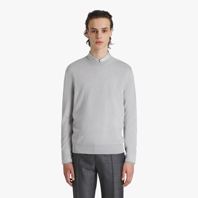 Light Wool Sweater With Logo, ICE GREY, hi-res