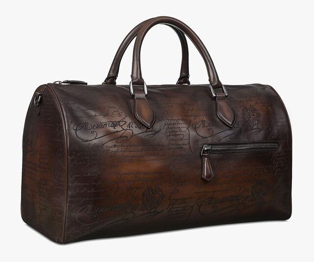 Jour Off Medium Scritto Leather Travel Bag, TOBACCO BIS, hi-res