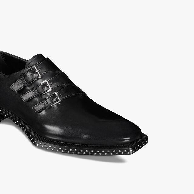 Caractère Edge 皮革僧侣鞋, JET BLACK, hi-res