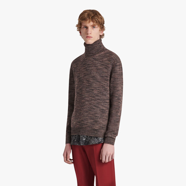 Cashmere & Silk Rollneck Sweater, DARK CHOCOLATE, hi-res