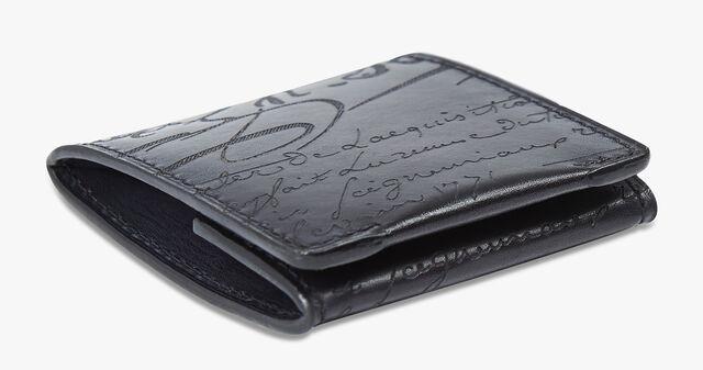 Origine Epure Scritto Leather Coin Purse, NERO GRIGIO, hi-res