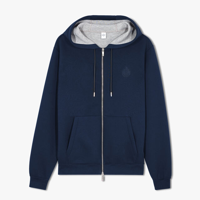 Zip-Up Hoodie With Embroidered Crest