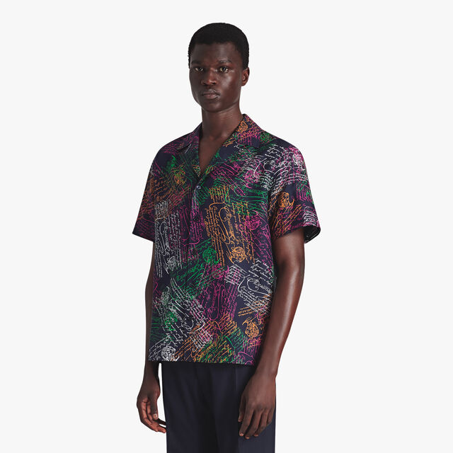 Printed Silk Oversize Shirt, SCRITTO COSMIC BLUE, hi-res