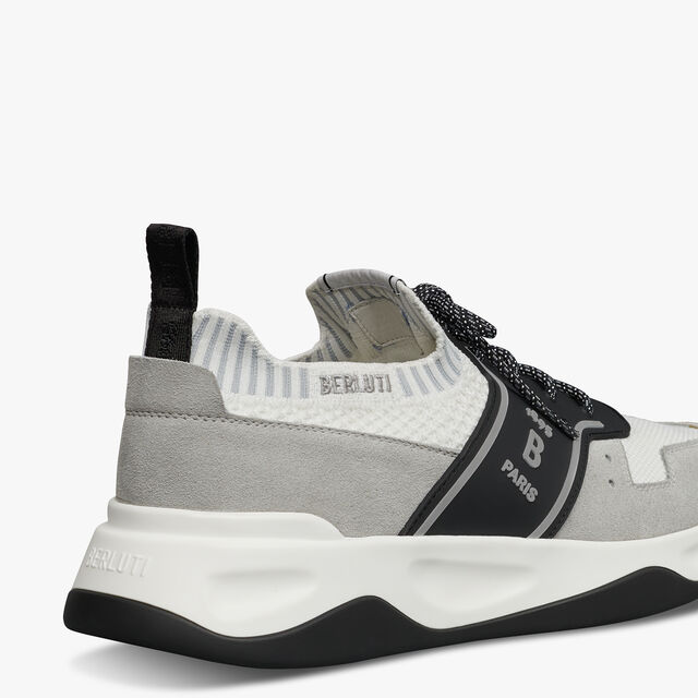 Shadow Knit and Leather Sneaker, LIGHT GREY, hi-res