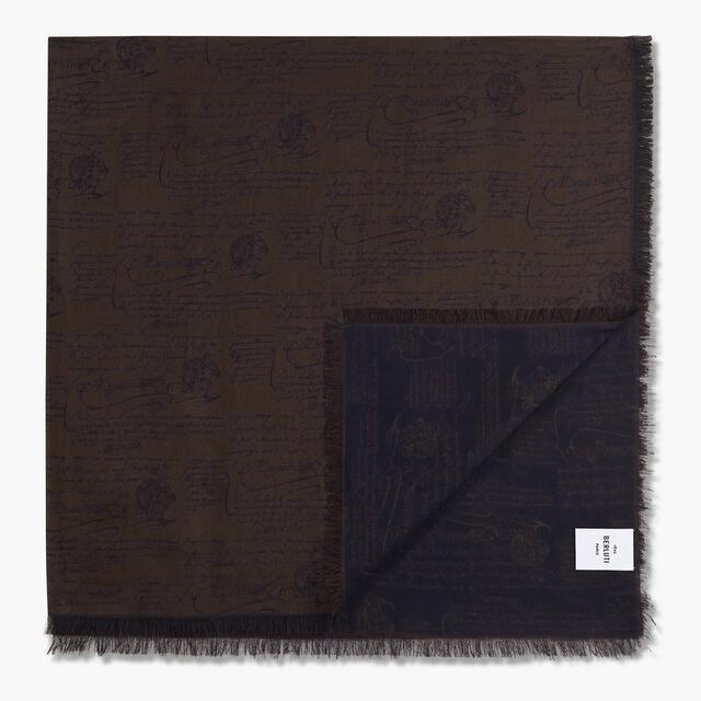 Jacquard Scritto Cotton Scarf, EQUINOX BROWN, hi-res