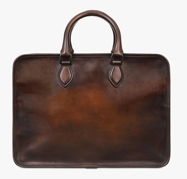 Deux Jours Leather Briefcase, TOBACCO BIS, hi-res