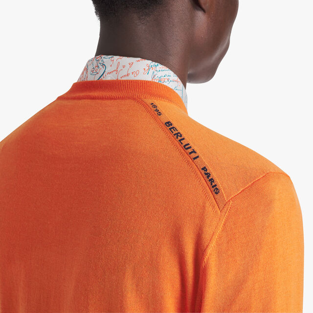 Light Wool Sweater With Logo, ORANGE, hi-res