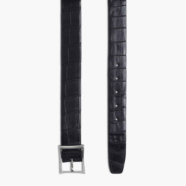 Classic Alligator Leather Belt - 35 mm, NERO, hi-res