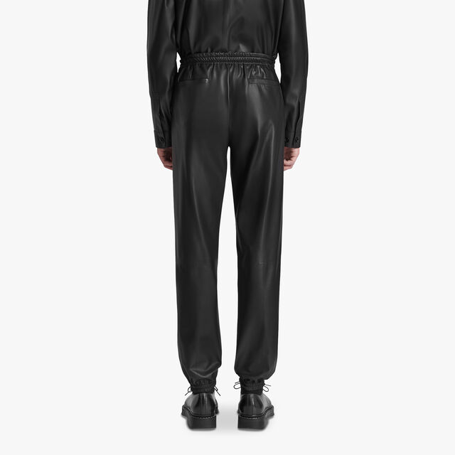 Leather Nylon Jogging Trousers, NOIR, hi-res