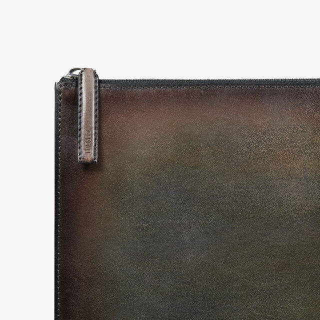Handle Large Leather Clutch, ICE BROWN, hi-res