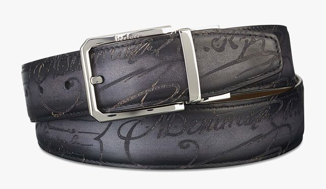 Versatile Reversible Scritto Leather Belt - 35 mm, TOBACCO BIS & NERO, hi-res