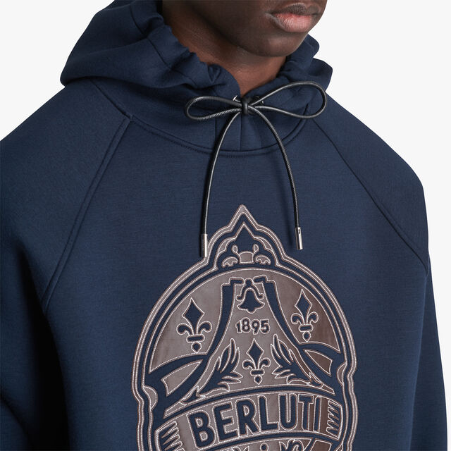 Hoodie With Bonded Leather Crest , ULTRAMARINE/LEAD, hi-res
