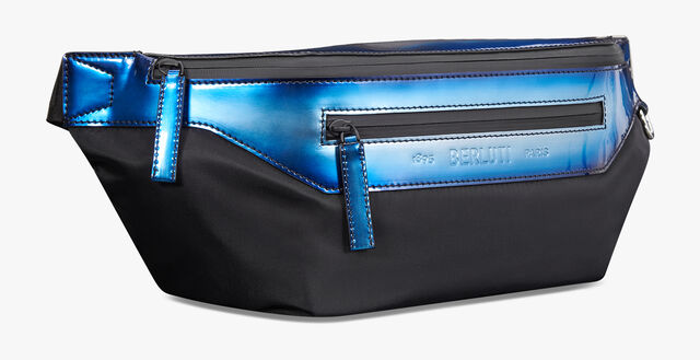 Complice Large Nylon & Leather Messenger Bag, BLUE METAL, hi-res