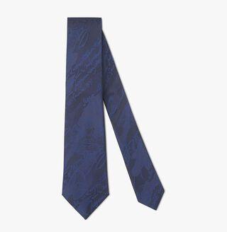 Cravate Scritto Camouflage En Soie, NAVY, hi-res