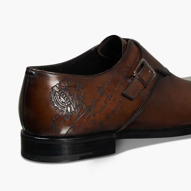 Scars Démesure Scritto Leather Monk Shoe, BRUN, hi-res