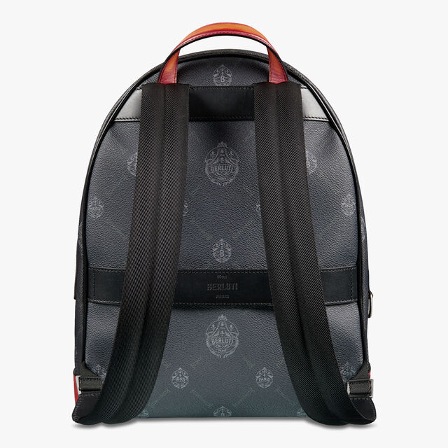 Explorer Medium Canvas And Leather Backpack, BLACK + NESPOLA ORANGE, hi-res