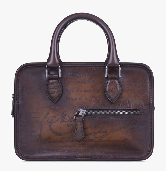 Un Jour Gulliver Scritto Leather Clutch, TOBACCO BIS, hi-res