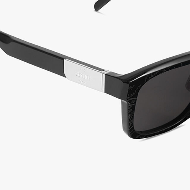 Neon Rectangular Shape Acetate Sunglasses, BLACK+SOLID SMOKE, hi-res