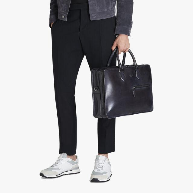 Deux Jours Leather Briefcase, DEEP BLACK, hi-res