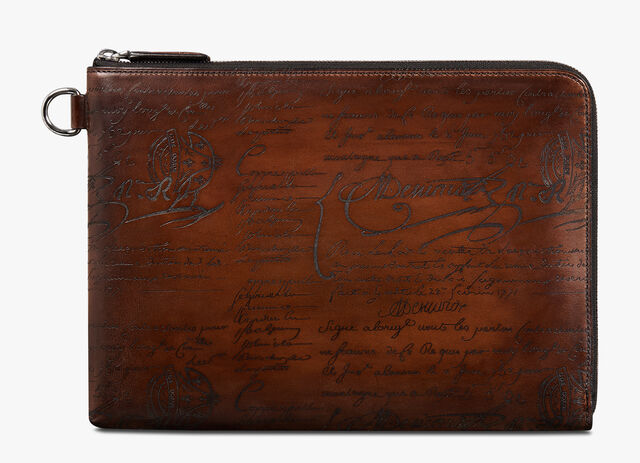 Nino Large Scritto Leather Clutch, MOGANO, hi-res