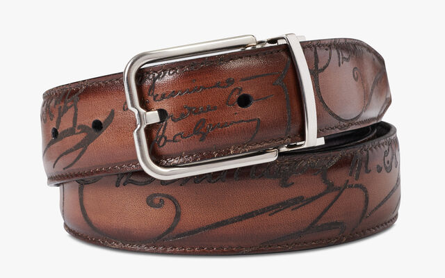 Essence Reversible Leather Belt - 32 mm, NERO & TOBACCO BIS, hi-res
