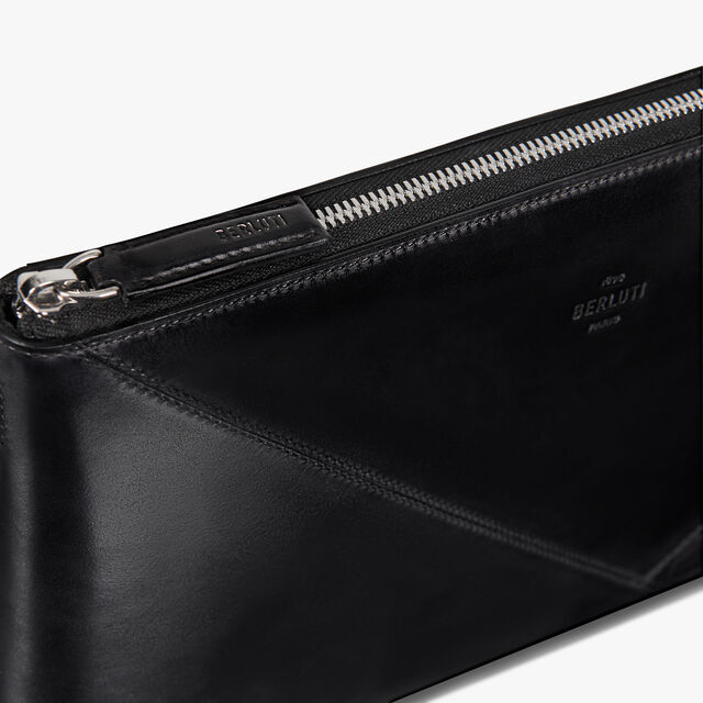 Nino Large Leather and Alligator Details Clutch, DEEP TDM & BLACK, hi-res