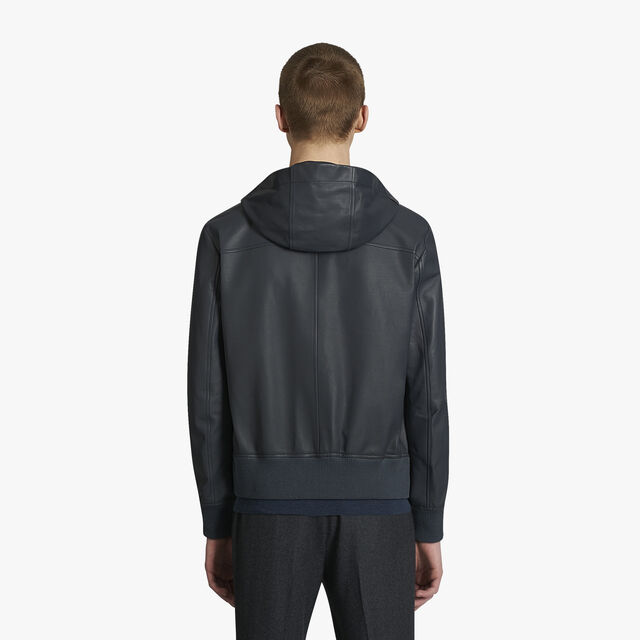 Leather Blouson With Hood, DARK GREY, hi-res
