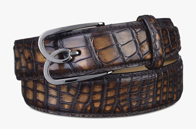 B Volute Alligator Leather Belt -  35 mm, TOBACCO BIS, hi-res