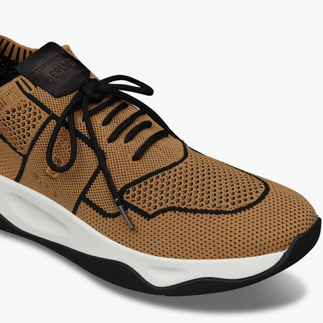 Shadow Knit Sneaker With Leather Details, BEIGE + BLACK, hi-res