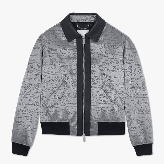 Scritto Jacquard Blouson With Leather Details, CHARCOAL GREY, hi-res
