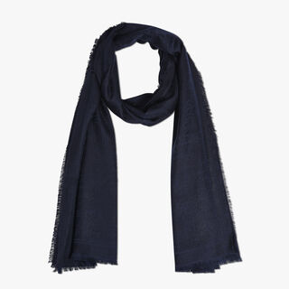 Cashmere-Blend Scritto Scarf, BLUE NAVY, hi-res