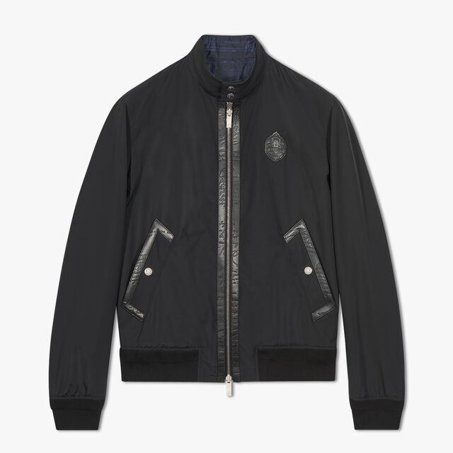 Reversible Nylon Blouson With Leather Detail, NOIR, hi-res