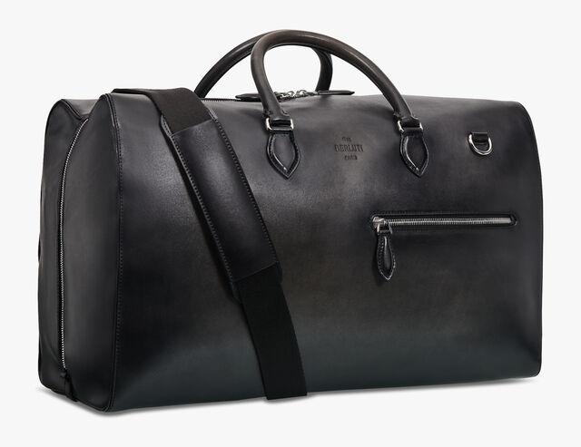 Weekender Medium Leather Travel Bag, NERO GRIGIO, hi-res