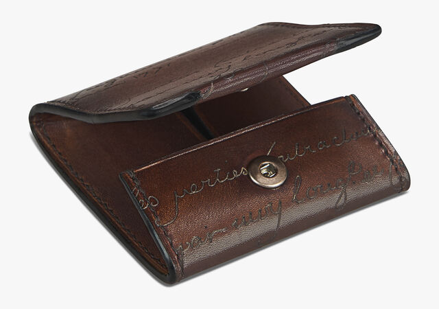Origine Epure Scritto Leather Coin Purse, MOGANO, hi-res