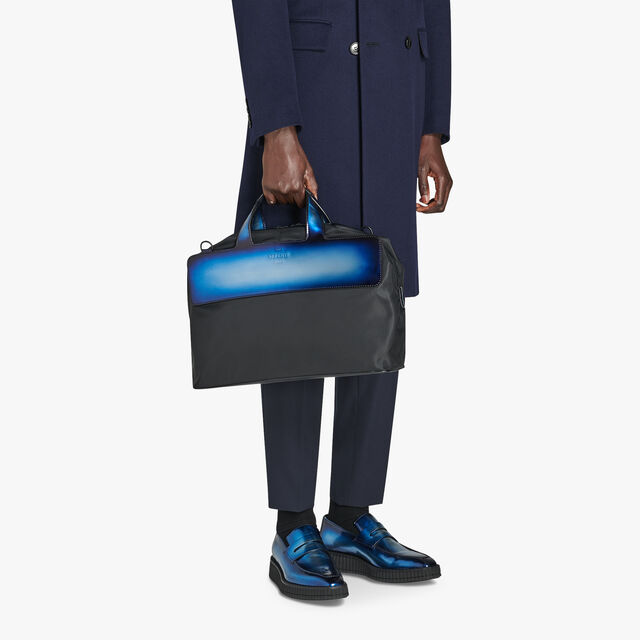 Cube Small Nylon Travel Bag With Leather Details, BLUE METAL, hi-res