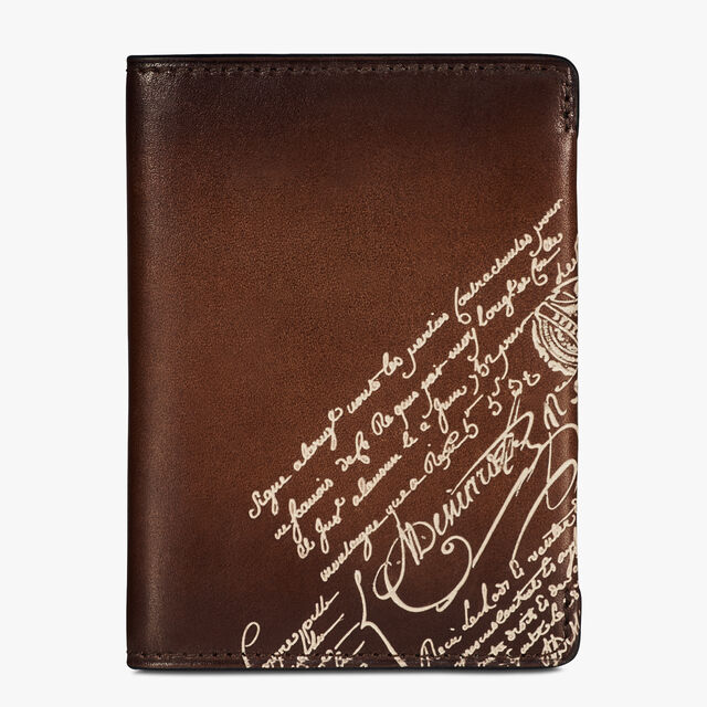 Ideal Epure Small Scritto Leather Card Holder, BRUN+IVORY, hi-res
