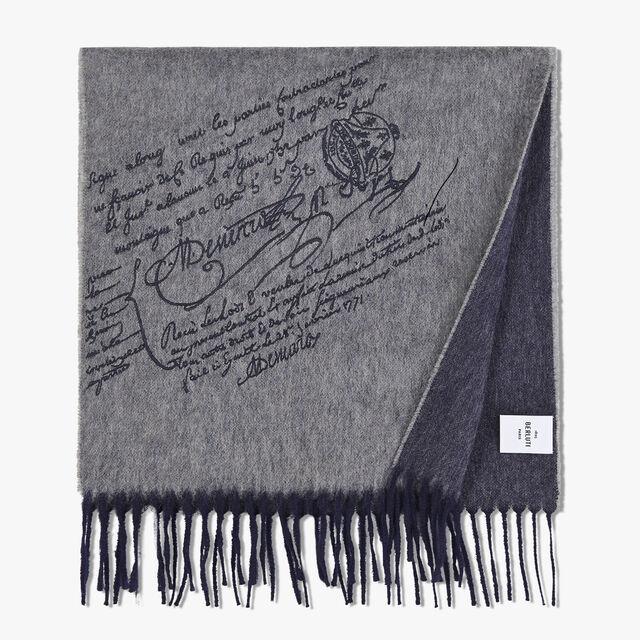 Écharpe Rectangulaire Bicolore En Cachemire Brodé Scritto, LEAD, hi-res