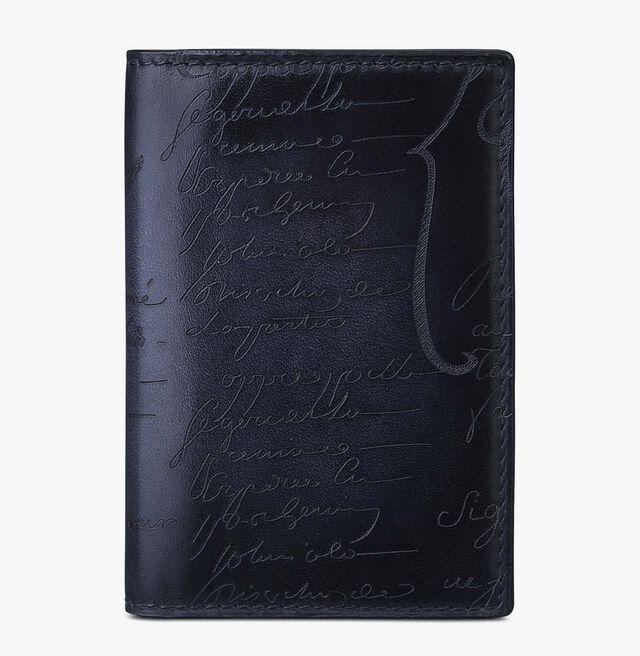 Jagua Scritto Leather Card Holder, NERO, hi-res