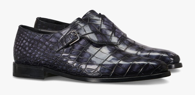 Scars Demesure Alligator Leather Buckle Shoe, NERO GRIGIO, hi-res