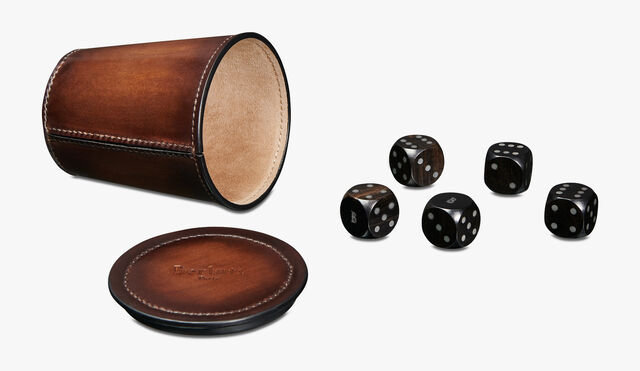 Leather Dice Game, BRUN, hi-res
