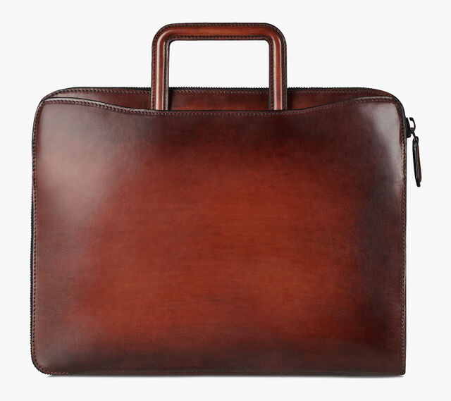 Lift Small Scritto Calf Leather Briefcase, MOGANO, hi-res