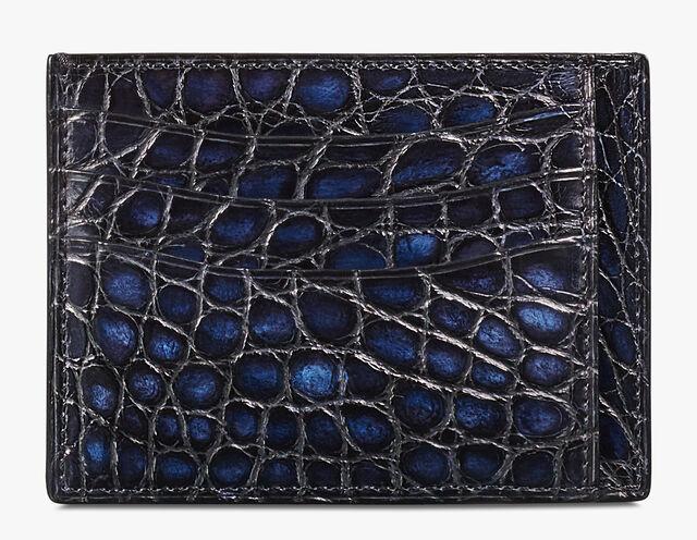 Bambou Tetris Alligator Leather Card Holder, NERO BLU, hi-res