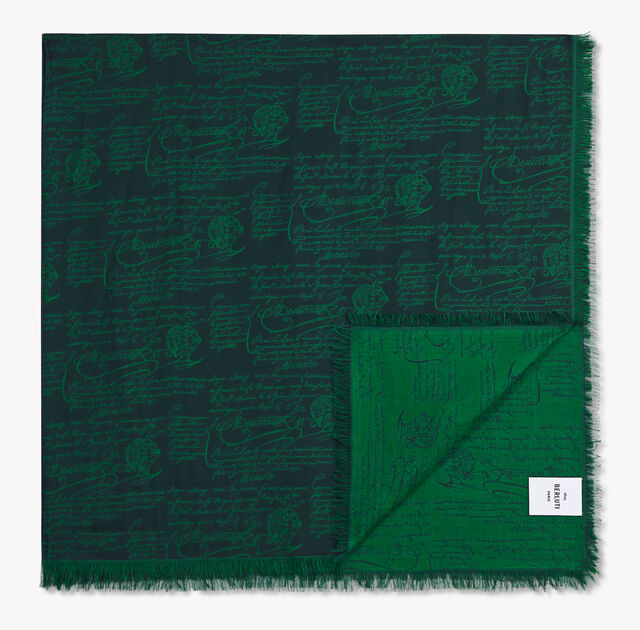 Jacquard Scritto Cotton Scarf, PLEIADES BLUE, hi-res