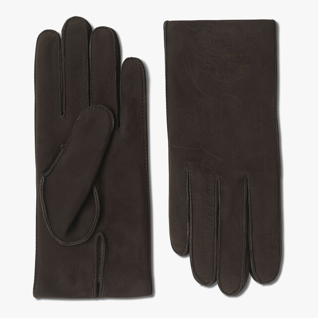 Nubuck Lamb Leather Full Scritto  Gloves, TDM, hi-res